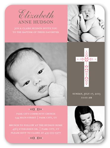 Cross Of Girl Baptism Invitation