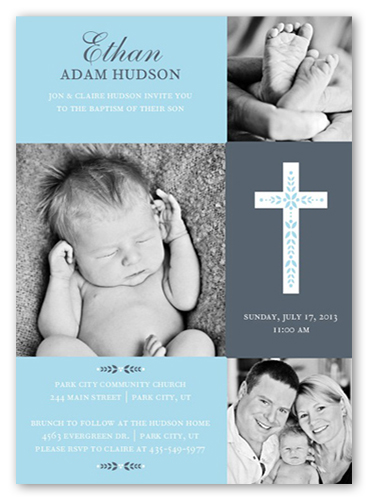Cross Of Boy Baptism Invitations Shutterfly