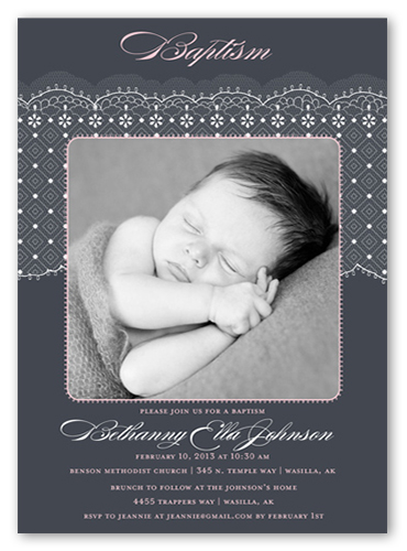Elegant Lace Girl Baptism Invitation, Square Corners