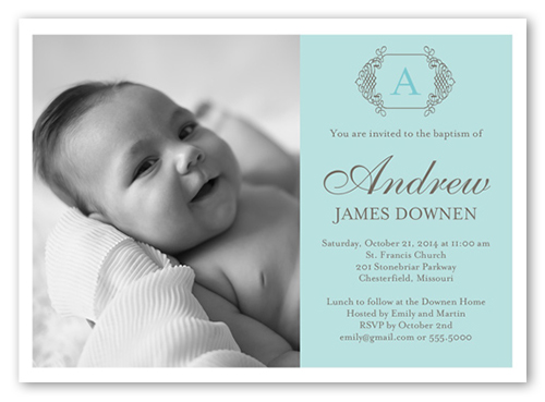 Vintage Monogram Boy 5x7 Christening Invitations Shutterfly