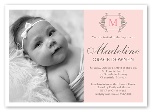 Vintage Monogram Girl 5x7 Invitation Baptism Invitations