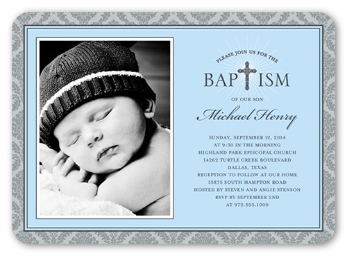 Radiant Cross Boy 5x7 Invitation Baptism Invitations Shutterfly