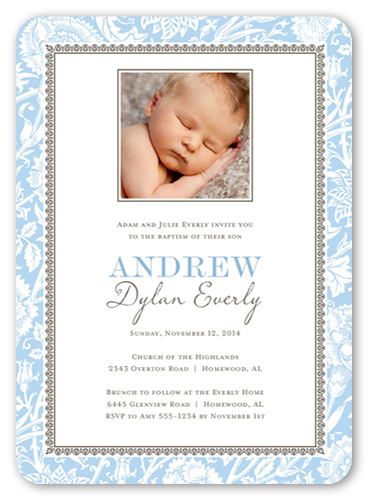 Vintage Blessings Boy 5x7 Invitation Baptism Invitations Shutterfly