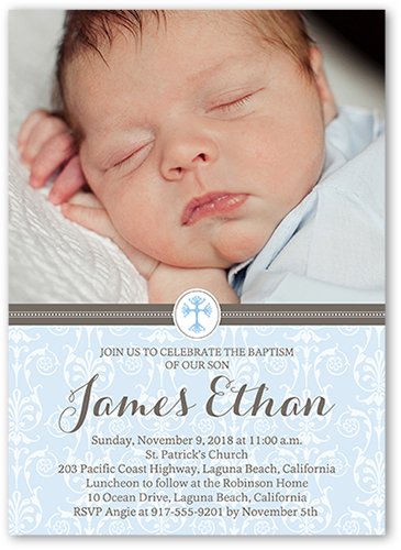 Elegant Cross Boy 5x7 Invitation Card Baptism Invitations Shutterfly
