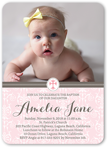 Elegant Cross Girl Baptism Invitation, Rounded Corners