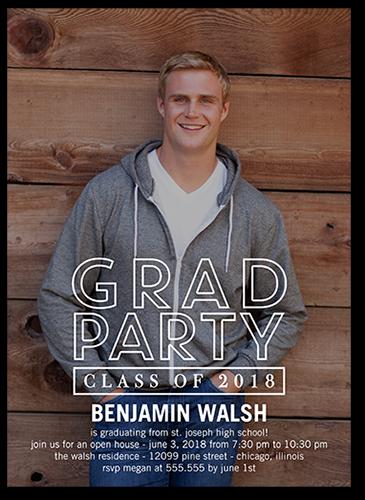 Modern Party Graduation Invitation, Square Corners