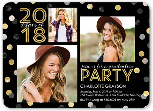 Spectacular Confetti Class 5x7 Graduation Party Invitation Shutterfly