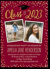 chalked confetti class graduation invitation 5x7 flat