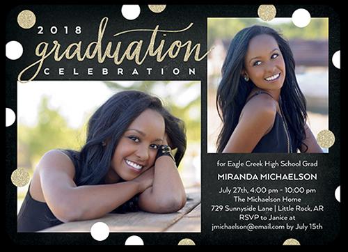 Big Confetti Grad Graduation Invitation, Rounded Corners