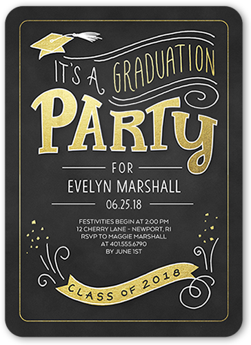 Swirled Class Banner Graduation Invitation, Rounded Corners