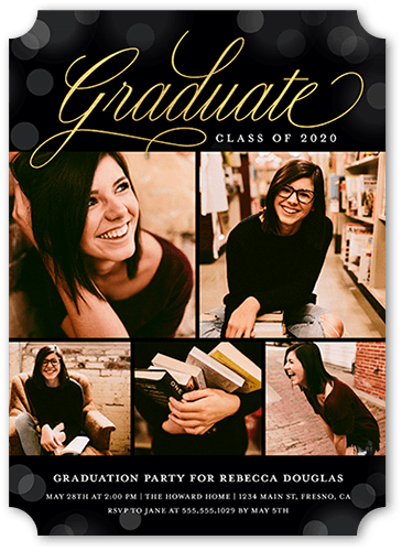 Elegant Bokeh Grad Graduation Invitation, Ticket Corners