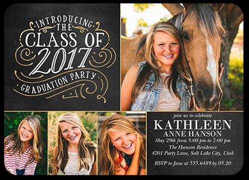 Swirled Class Collage Graduation Invitation, Rounded Corners