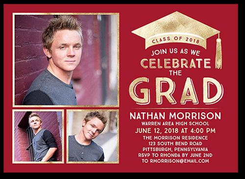 Bold Class Collage Graduation Invitation, Square