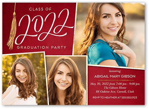 Extraordinary Tassel Graduation Invitation, Square Corners