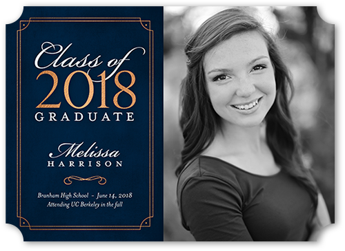 Gilded Bold Year Graduation Announcement