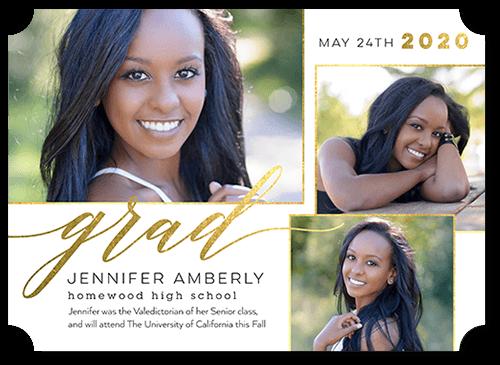 Modern Alumni Graduation Announcement, Ticket Corners