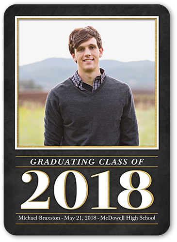 Notable Year Graduation Announcement, Rounded Corners
