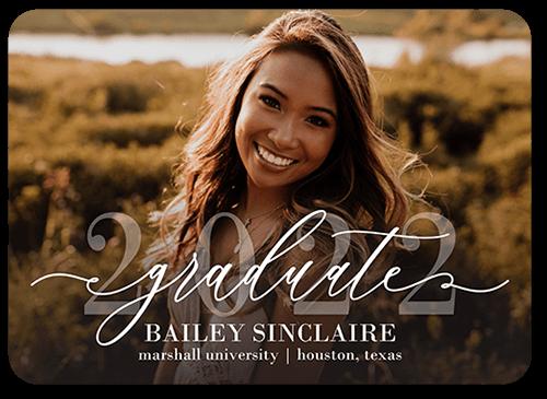 Elegant Script Grad 5x7 Graduation Announcement By Float Paperie