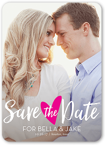 Sweetheart Romance Save The Date, Rounded Corners