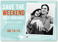 pack your bags save the date 5x7 flat