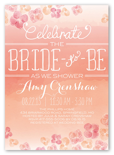 Watercolor Blooms 5x7 Bridal Shower Invitations Shutterfly