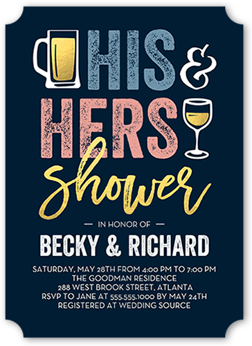 His And Hers Shower Bridal Shower Invitation, Square