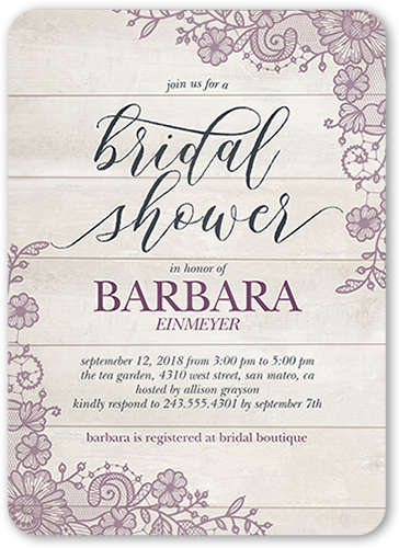 lovely lace frame bridal shower invitation