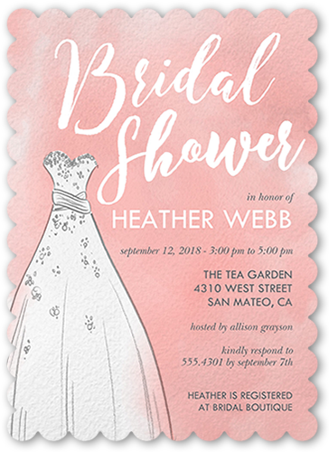 watercolor dress 5x7 bridal shower invitations