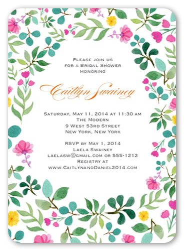 Bridal Blooms Bridal Shower Invitation, Rounded Corners