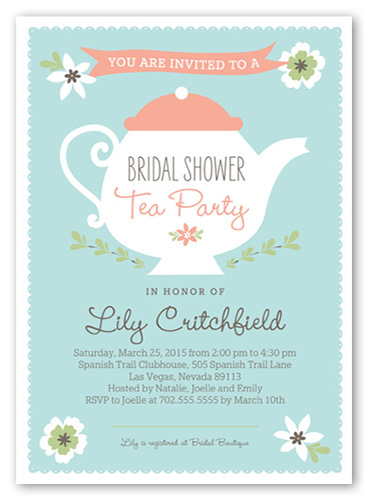 Charming Teapot Bridal Shower Invitation