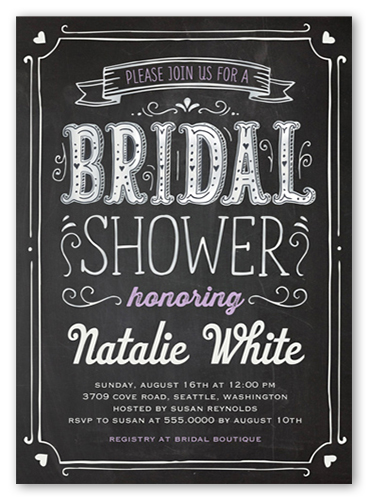 Chalked Frame 5x7 Bridal Shower Invitations Shutterfly