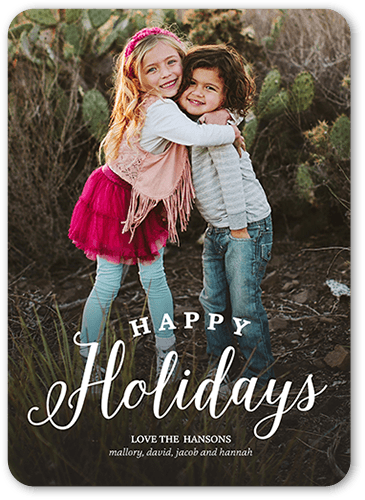 Basic Family Greeting Holiday Card, Rounded Corners