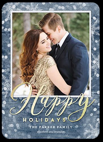 Woodgrain Bokeh Holiday Card, Square