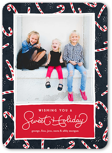Sweet Candy Canes Holiday Card, Square