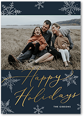 glowing snowflakes holiday card