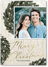 wreath lights holiday card