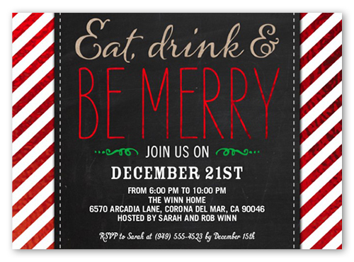 Be Merry Stripes 5x7 Invitation Card – Office Holiday Party Invites