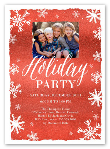 Flurry Frame Holiday Invitation by Yours Truly
