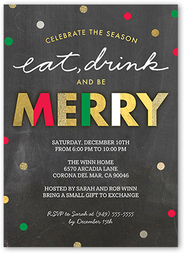 Delightful Confetti Holiday Invitation