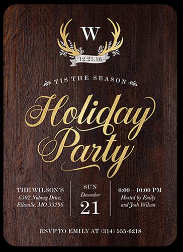 Seasonal Antlers Holiday Invitation