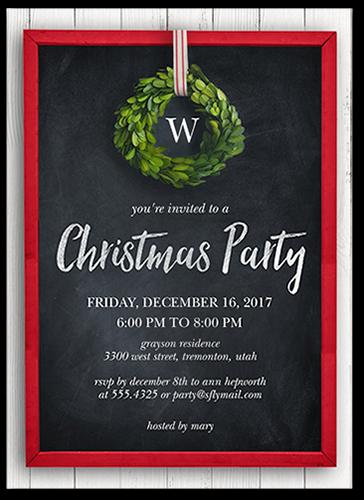 Festive Holiday Wreath Holiday Invitation