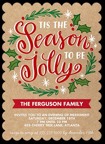 Tis The Season Wreath Holiday Invitation, Scallop Corners