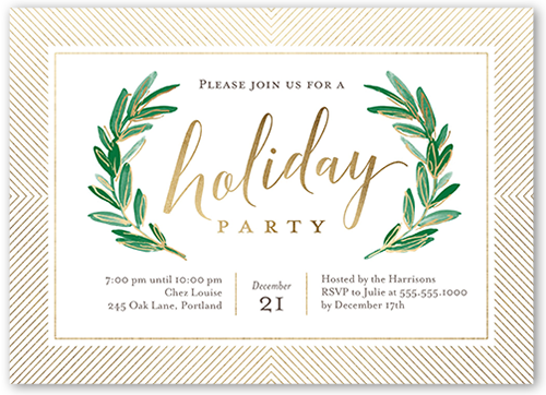 Lovely Party Laurels Holiday Invitation