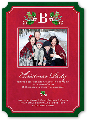 Bordered Family Monogram Holiday Invitation