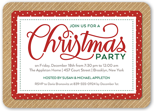 Simple Festive Kraft Holiday Invitation, Rounded Corners