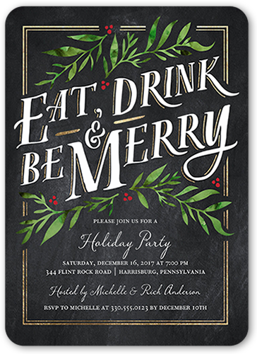 Chalkboard Berries Holiday Invitation, Square