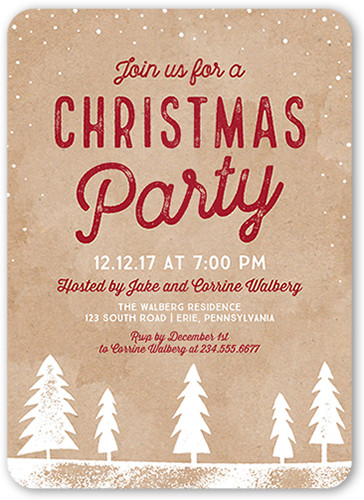 Classic Kraft Holiday Invitation, Rounded Corners