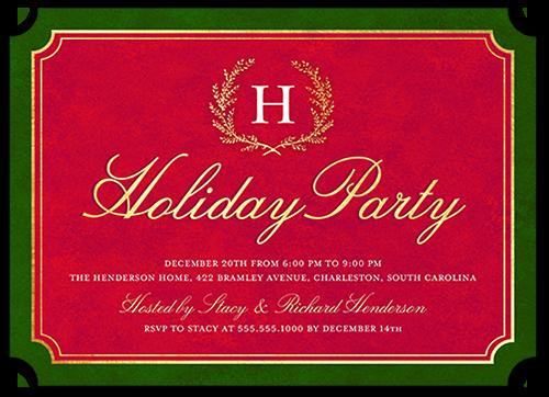 Simple Monogram Wreath Holiday Invitation, Ticket Corners