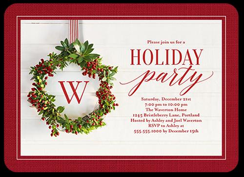 Monogram Festive Wreath Holiday Invitation, Rounded Corners