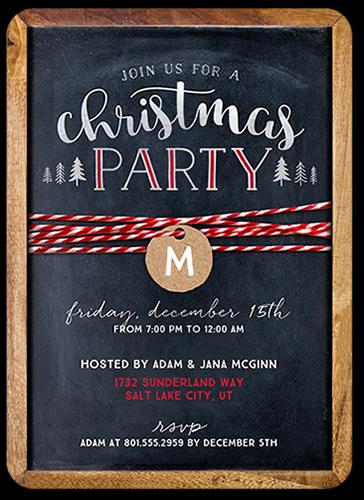Chalkboard Festive Monogram Holiday Invitation, Rounded Corners